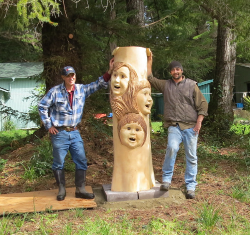 March 30, 2015...Brian Vorwaller, the wood carver is on the right...you know who on the left.  We're both happy it's delivered and set up.